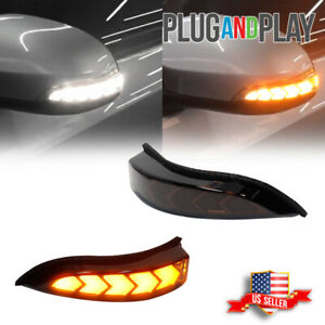 For Toyota Venza Corolla Smoked White amber Side Mirror Sequential Signal Lights
