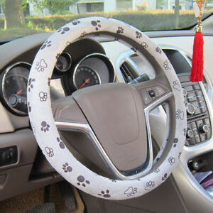 38cm 15 Grey Soft Comfy Cute Paw Printed Auto Car Steering Wheel Cover Parts