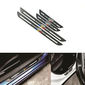 4x Jdm Mugen Blk Carbon Fiber Car Door Welcome Plate Sill Scuff Cover Protector