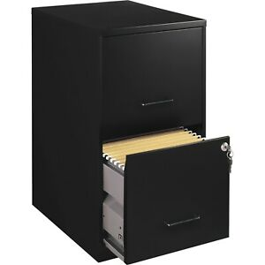 18 inch Deep 2 drawer File Cabinet Black With Locking Drawers