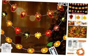 Fall Decor Thanksgiving Decorations Lighted Fall Garland90 LED Set of 3 Acorn 3