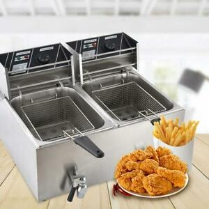 8l 16l Electric Deep Fryer Tank Commercial Countertop Basket Restaurant Steel