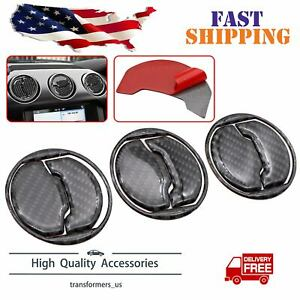 9pcs Carbon Fiber Interior Air Vent Outlet Trim Cover For Ford Mustang 2015 2019