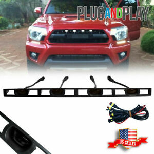 For 2012 15 Toyota Tacoma Smoke Front Hood Grille White Led Light W wire Harness
