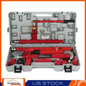 10 Ton Porta Power Hydraulic Jack Air Pump Lift Ram Repair Tool Kit Auto Body