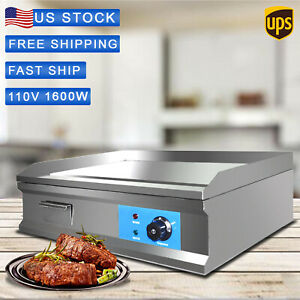 1600w 25 5 Commercial Electric Countertop Griddle Flat Top Grill Hot Plate Bbq