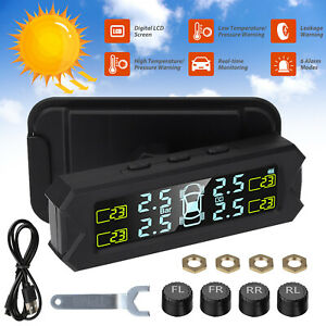 Wireless Solar Tpms Lcd Car Tire Pressure Monitoring System 4 External Sensors