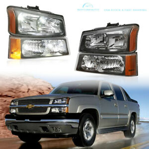 Black Headlights Bumper Lamps For 2003 2006 Chevy Silverado 1500 2500 3500 Hd