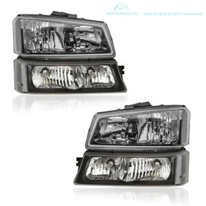 Pair Black Headlights Assy For 2003 2006 Chevy Silverado Avalanche 1500 2500 Hd