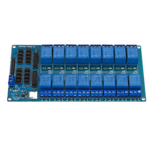 16 Canale 5v Relay Module Board With Optocoupler For Pic Avr Dsp Arm Control
