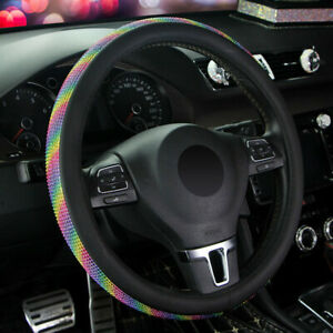 15 38cm Leather Car Steering Wheel Cover Rainbow Breathable Non slip Universal