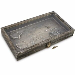 Wooden Jewelry Display Case With Glass Top Lid With Key Lock Coffee Color