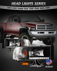 For 94 02 Dodge Ram 1500 2500 3500 Headlights Led Drl Front Lamp Black Clear