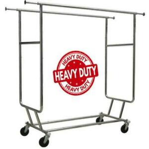 Only Hangers Heavy Duty Rolling Portable Closet Industrial Metal Garment Rack