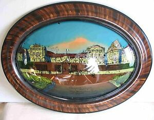Antique Oval Reverse Painting Bubble Glass Versailles France 19x25 Free Sh