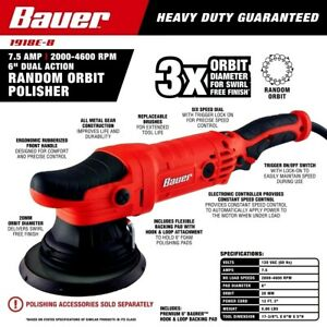 Bauer 6 In 7 5 Amp Dual Action Random Orbit Polisher Buffer Variable Speed
