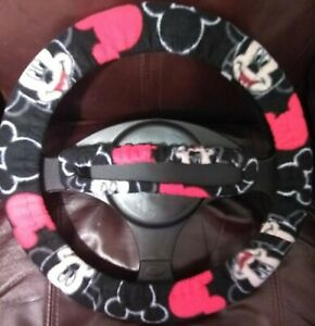 Mickey Mouse Fleece Steering Wheel Rearview Mirror Cover Set