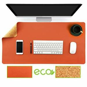 Natural Cork Leather Double Sided Office Desk Mat With Mouse Pad Smooth Orange