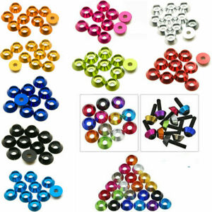 10x M4 5 6 Countersunk Washer Aluminum Alloy Cup Head Nuts Bolt Colorful Washers