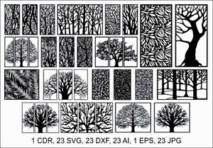 Dxf cdr Of Plasma Laser Water Jet Router Cut cnc Best 23 Tree Panels