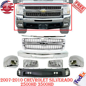 Front Bumper Chrome Steel Kit W Grille For 2007 2010 Chevy Silverado 2500hd 3500