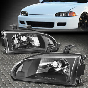 For 92 95 Honda Civic Eg Ej Eh Black Clear Oe Style Replacement Headlight Lamps