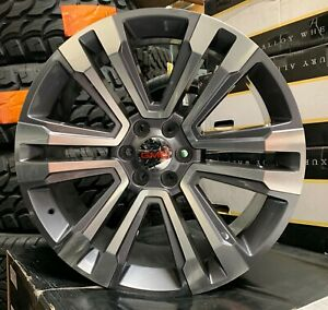 24 Gmc Yukon Sierra Grey Machine Wheels Chevy Tahoe Silverado Rims Escalade