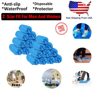 100 300 Disposable Shoe Covers Protector Cover Plastic Overshoes Blue Floor Boot