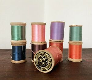 Lot Of 9 Antique Wooden Spool Silk Cotton Sewing Thread Corticelli