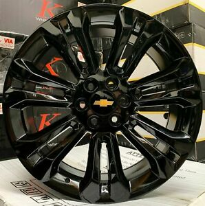 24 Gmc Yukon Sierra Gloss Black Wheels Chevy Tahoe Silverado Rims Escalade New