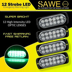 4x Green 12 Led Car Truck Emergency Beacon Warning Hazard Flash Strobe Light