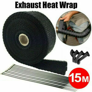 Universal 50ft Roll Black Fiberglass Exhaust Header Pipe Heat Wrap Tape Ties Kit