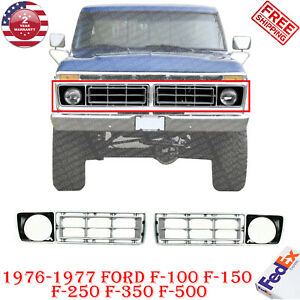 Front Grille Silver Plastic Rh Lh For 1976 1977 Ford F 100 F 150 F 250 F 350 500