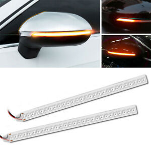 2x Car Rearview Mirror 28smd Led Strip Lamp Flowing Turn Signal Side Light Amber