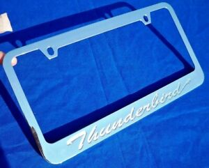 For Ford Thunderbird Engraved Chrome Metal License Plate Frame W Logo Screw Caps