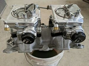 Offenhauser Dual Quad Intake Manifold Sbc With Street Demon Carburetors