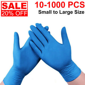 10 1000 Pcs Nitrile Blue Durable Rubber Cleaning Hand Gloves Powder Latex Free