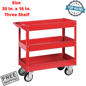 Rolling Service Cart Three Shelf Sheet Steel Movable Casters Tool Parts Storage