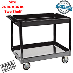Push Two Shelf Tray Service Cart Steel Rolling Caster Moving Tools Parts Storage