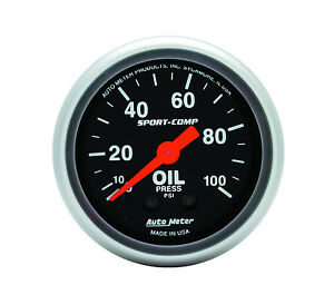Autometer 3321 Sport comp 2 1 16 Mechanical 52mm Oil Pressure Gauge 0 100 Psi