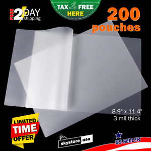 200pcs Clear 3mil Thermal Laminating Pouches Sheets 9 X 11 5 Letter Size Rounded