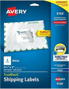 Avery Shipping Address Labels Inkjet Printers 100 Labels 3 1 2 X 5