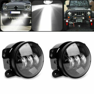Pair 4 Inch Osram Round Led Fog Lights Driving Lamps For Jeep Wrangler Jk Tj Cj