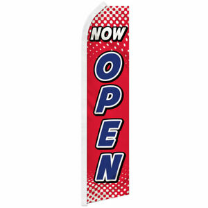 Now Open Swooper Feather Flutter Advertising Flag We re Open Now Red white