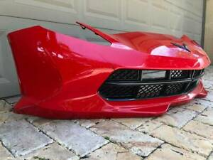 2014 2019 C7 Corvette Oem Torch Red Front Bumper And Grille Damaged
