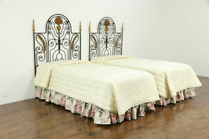 Pair Of Twin Size Vintage Wrought Iron Beds Carved Wood Mounts 35155