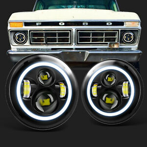 Fits 1953 1977 Ford F 100 F 250 F 350 Pickup Pair 7 Led Projector Headlights