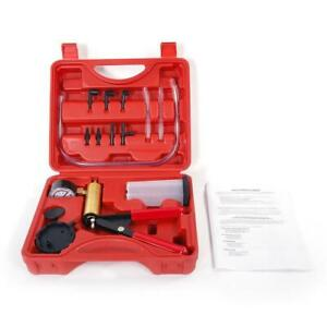 Hand Held Vacuum Pressure Pump Set Car Brake Fluid Bleeder Tester Kit Red Case