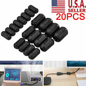 20pc Cable Clips Clip on Ferrite Ring Core Emi Rfi Noise Suppressor Filter Beads