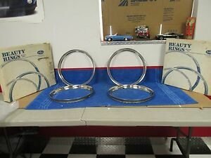 1947 1948 1950 s Ford 14 Inch Stainless Wheel Beauty Trim Rings Set Of 4 New 920